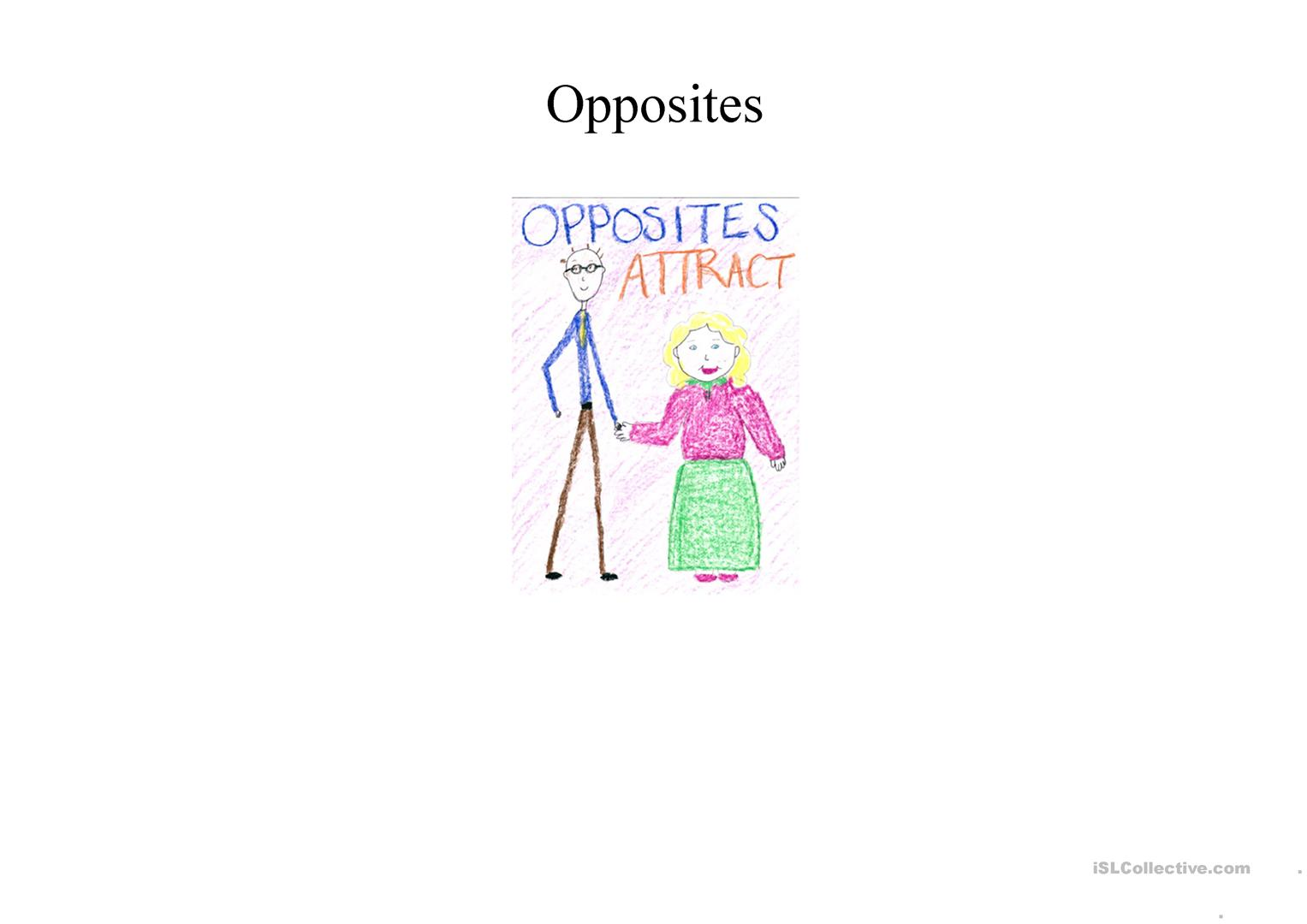 Opposites Chart Illustrated Adjectives Worksheet