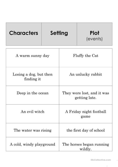small resolution of English ESL story elements worksheets - Most downloaded (9 Results)
