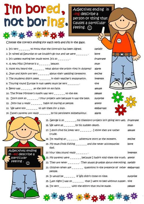 small resolution of Adjectives with -ed and -ing - English ESL Worksheets for distance learning  and physical classrooms