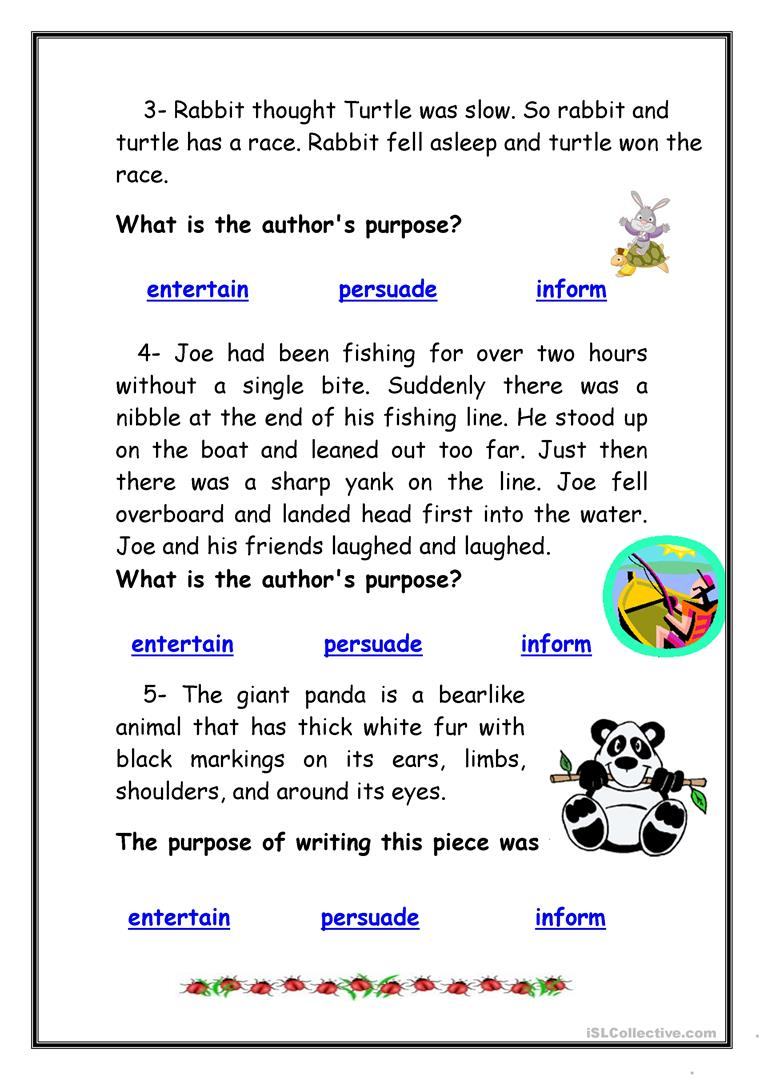 medium resolution of Identifying Authors Purpose Worksheet - Promotiontablecovers