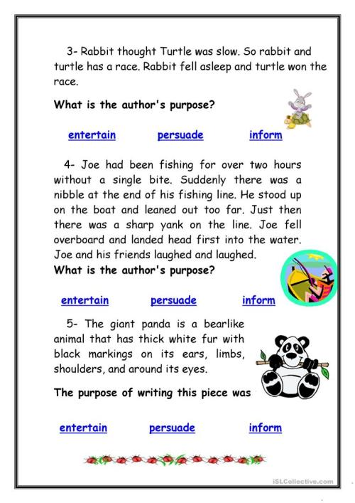 small resolution of Identifying Authors Purpose Worksheet - Promotiontablecovers