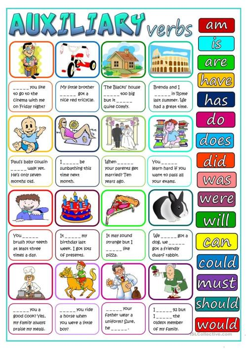 small resolution of English ESL auxiliary verbs worksheets - Most downloaded (35 Results)