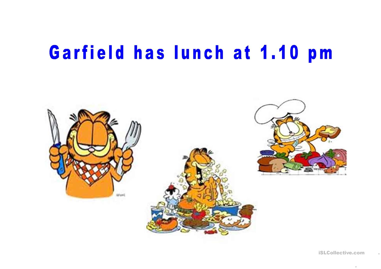 Garfield S Daily Routine Worksheet