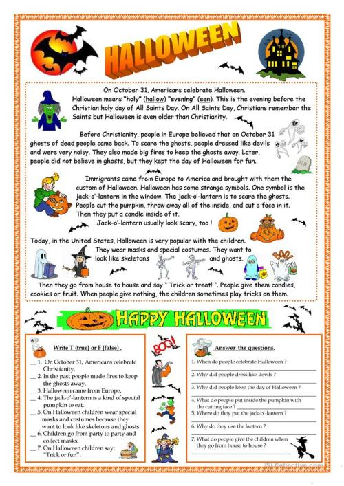 small resolution of English ESL Halloween worksheets - Most downloaded (639 Results)