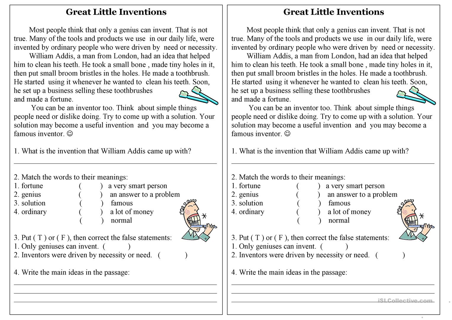Inventions Worksheet