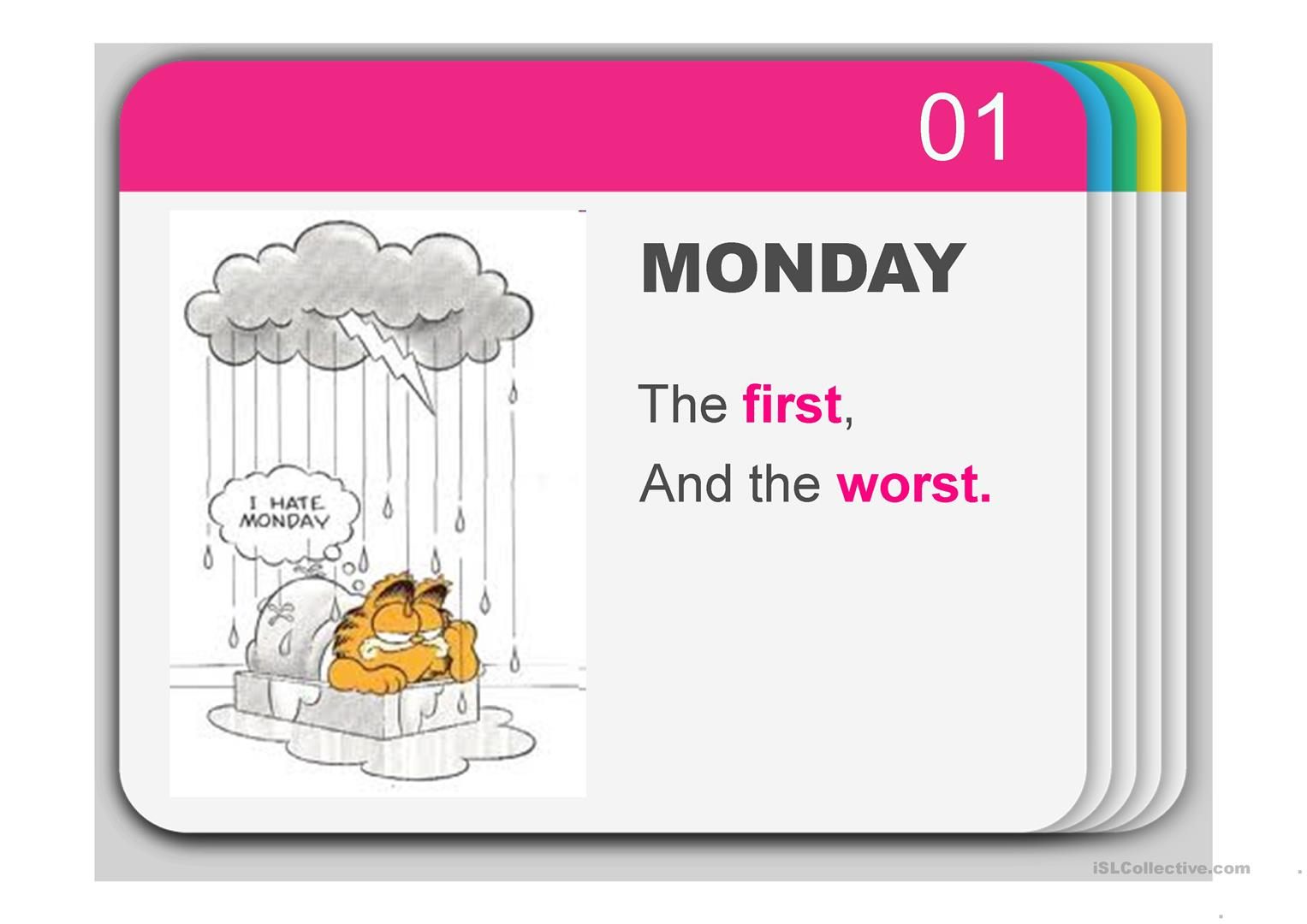 Rhyme On Days Of The Week Amp Ordinal Numbers With Garfield Worksheet