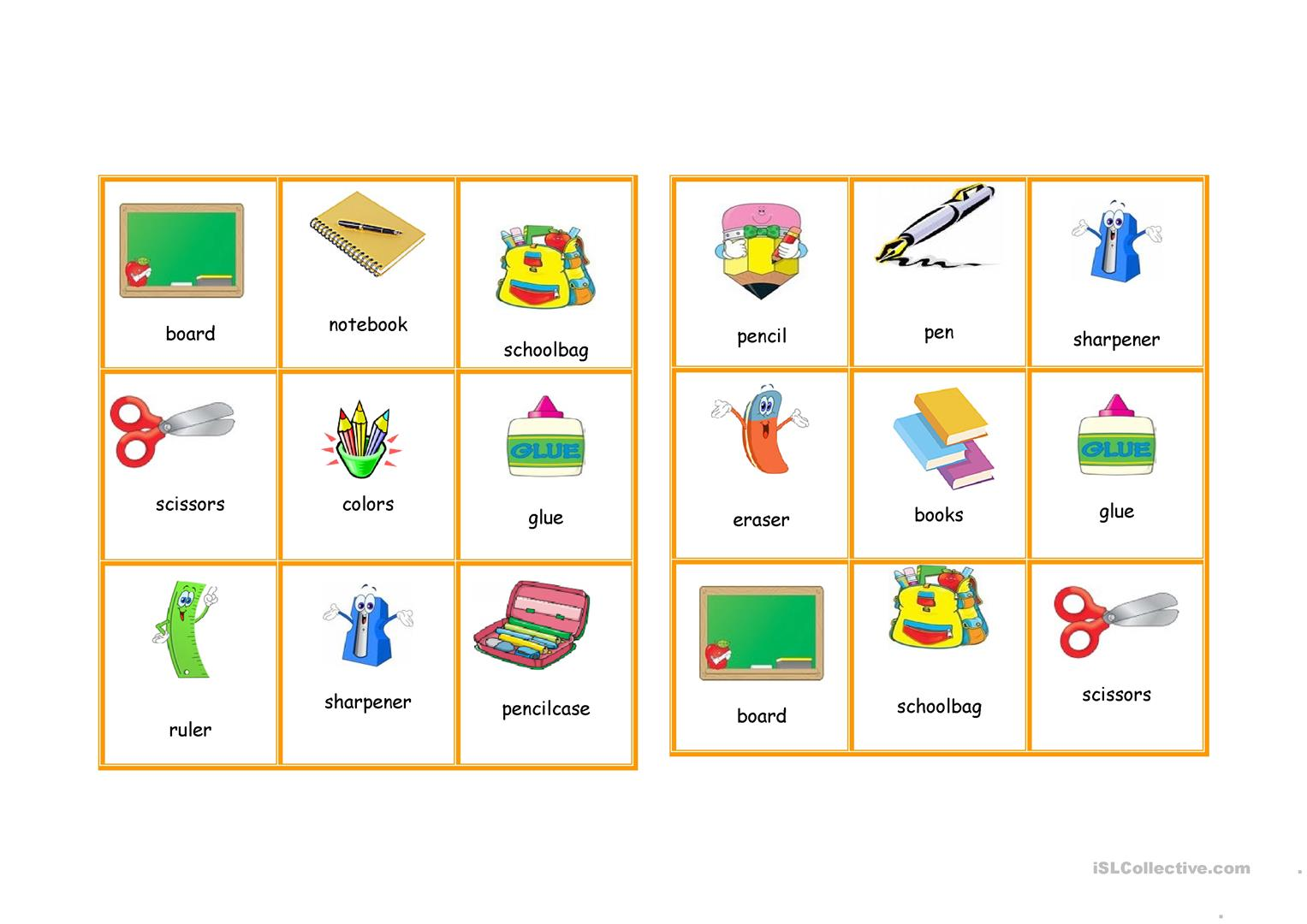 School Items Bingo Worksheet