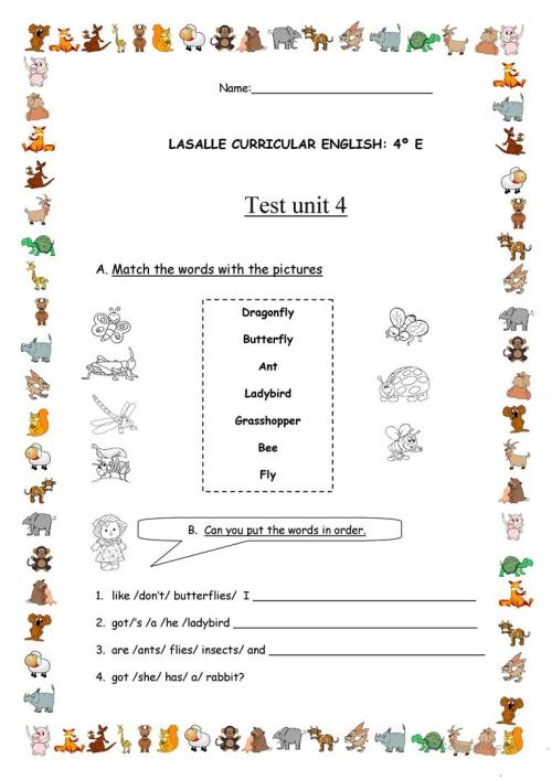 small resolution of Test for 4th grade - English ESL Worksheets for distance learning and  physical classrooms