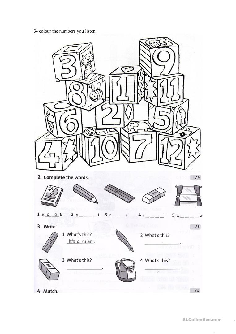 test on colours, numbers and school objects worksheet