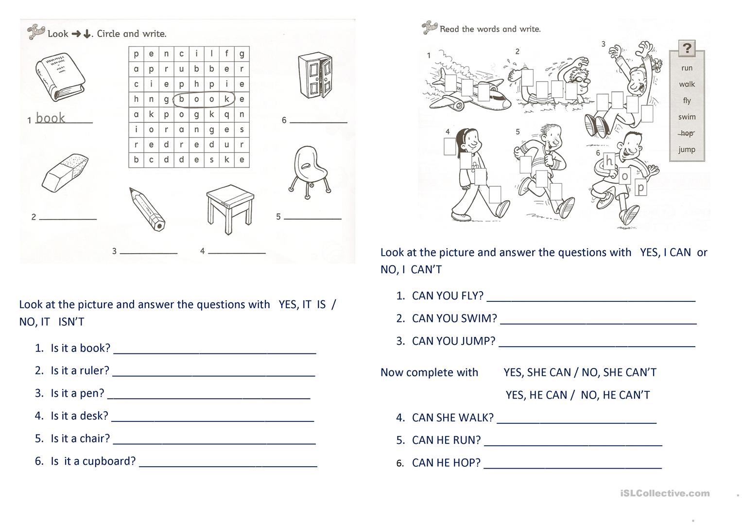 Verb To Be Can Worksheet