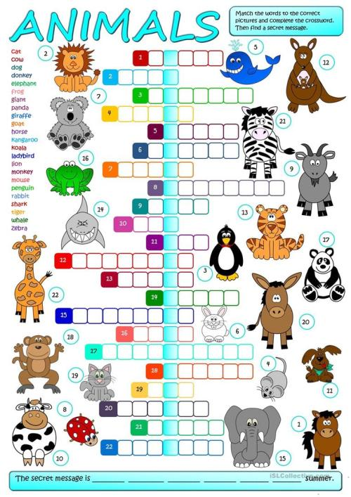 small resolution of English ESL Animals worksheets - Most downloaded (2632 Results)