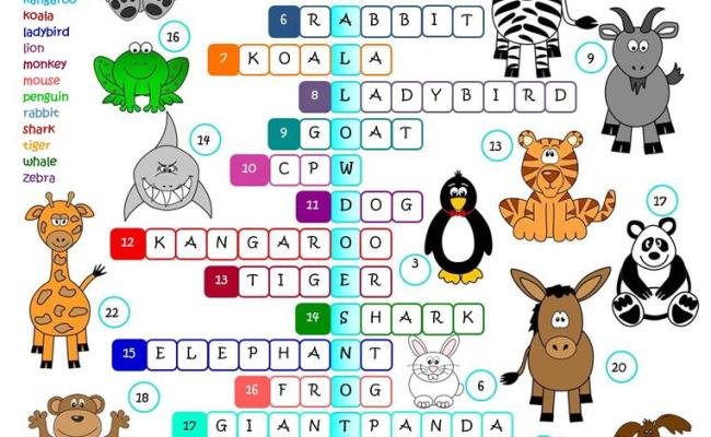 Animals Crossword Worksheet Free Esl Printable