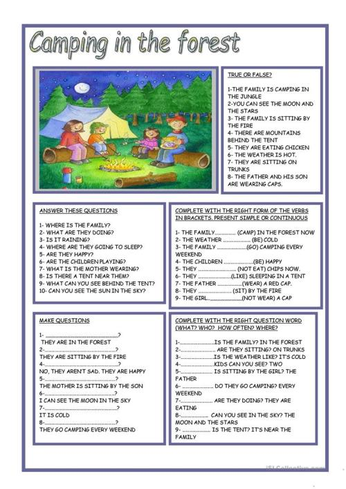 small resolution of English ESL camping worksheets - Most downloaded (37 Results)