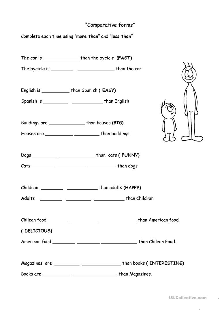Comparison Of Adjectives Worksheet
