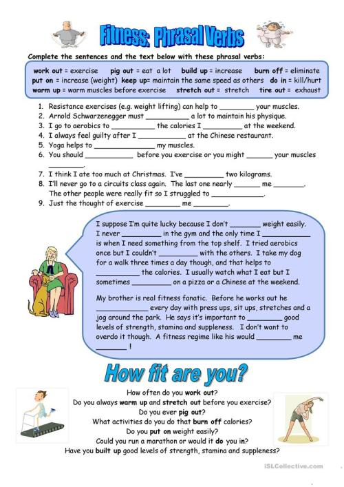small resolution of Fitness Phrasal Verbs - English ESL Worksheets for distance learning and  physical classrooms