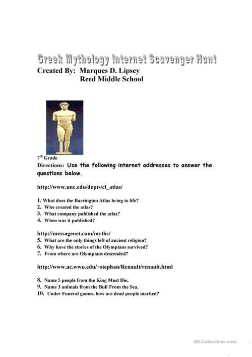 small resolution of English ESL greek mythology worksheets - Most downloaded (13 Results)
