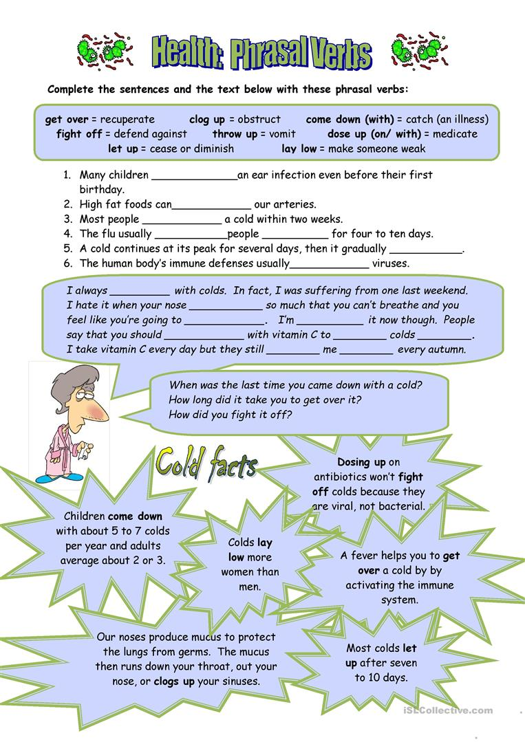 medium resolution of Health Phrasal Verbs - English ESL Worksheets for distance learning and  physical classrooms