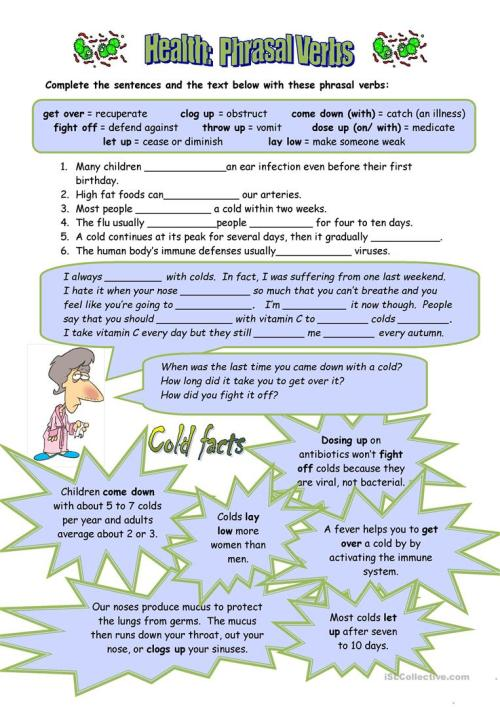 small resolution of Health Phrasal Verbs - English ESL Worksheets for distance learning and  physical classrooms