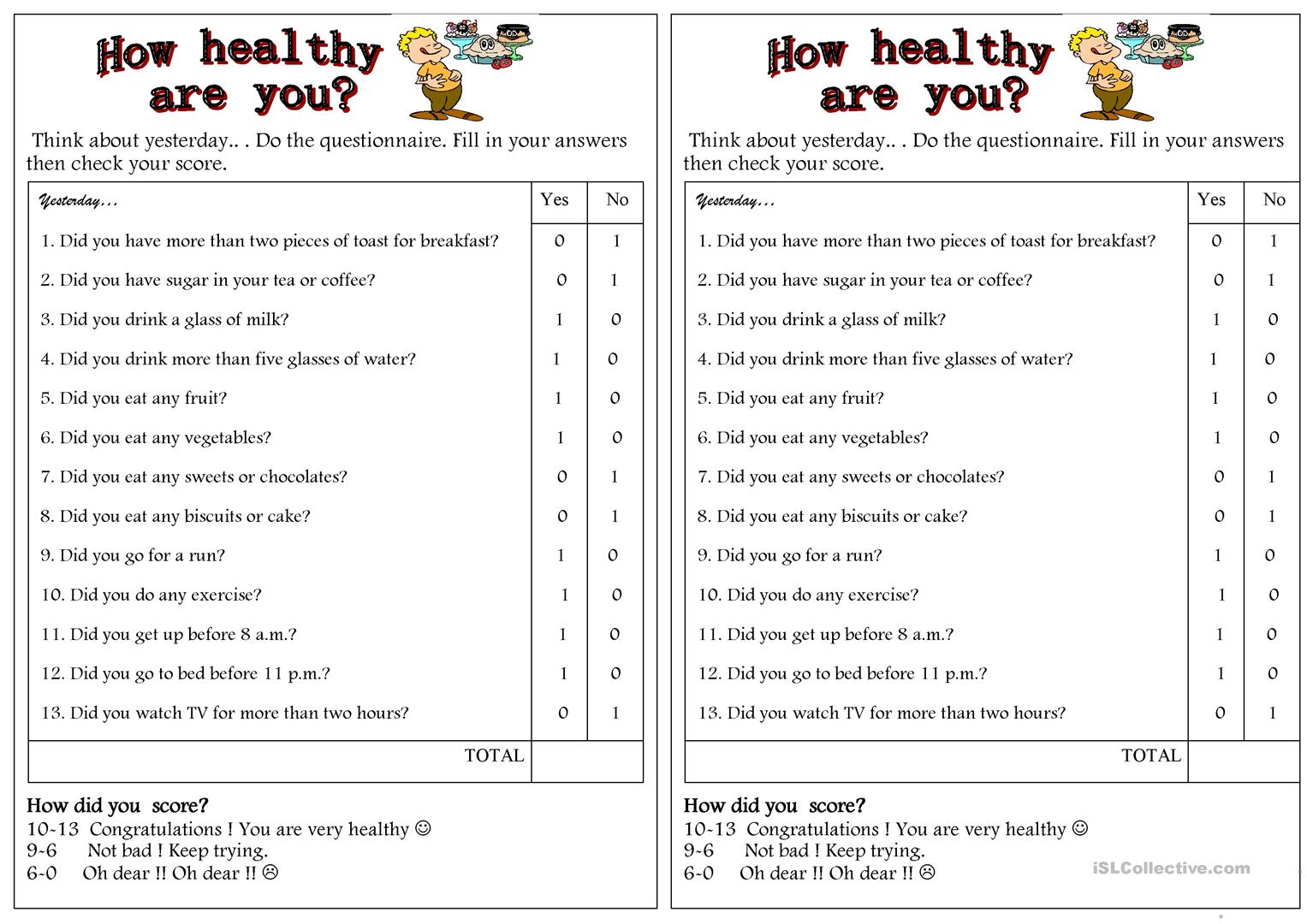 How Healthy Are You Worksheet