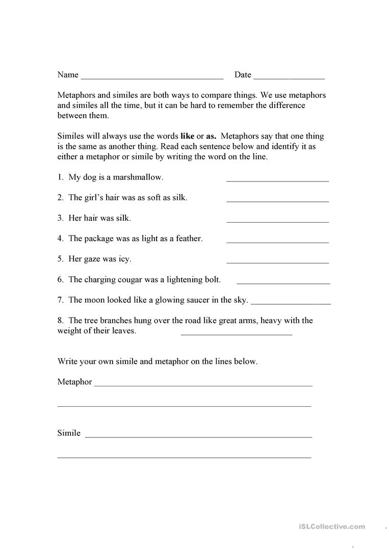 Worksheets Simile And Metaphor Worksheet simile and metaphor worksheets for middle school free w ksheet met ph mytourvn study site