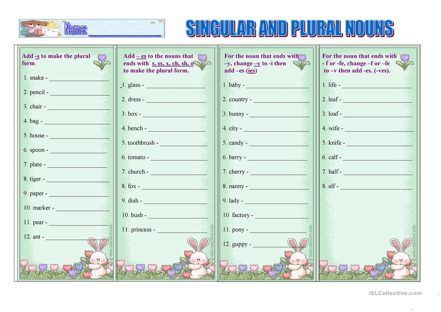 Singular And Plural Nouns Worksheet
