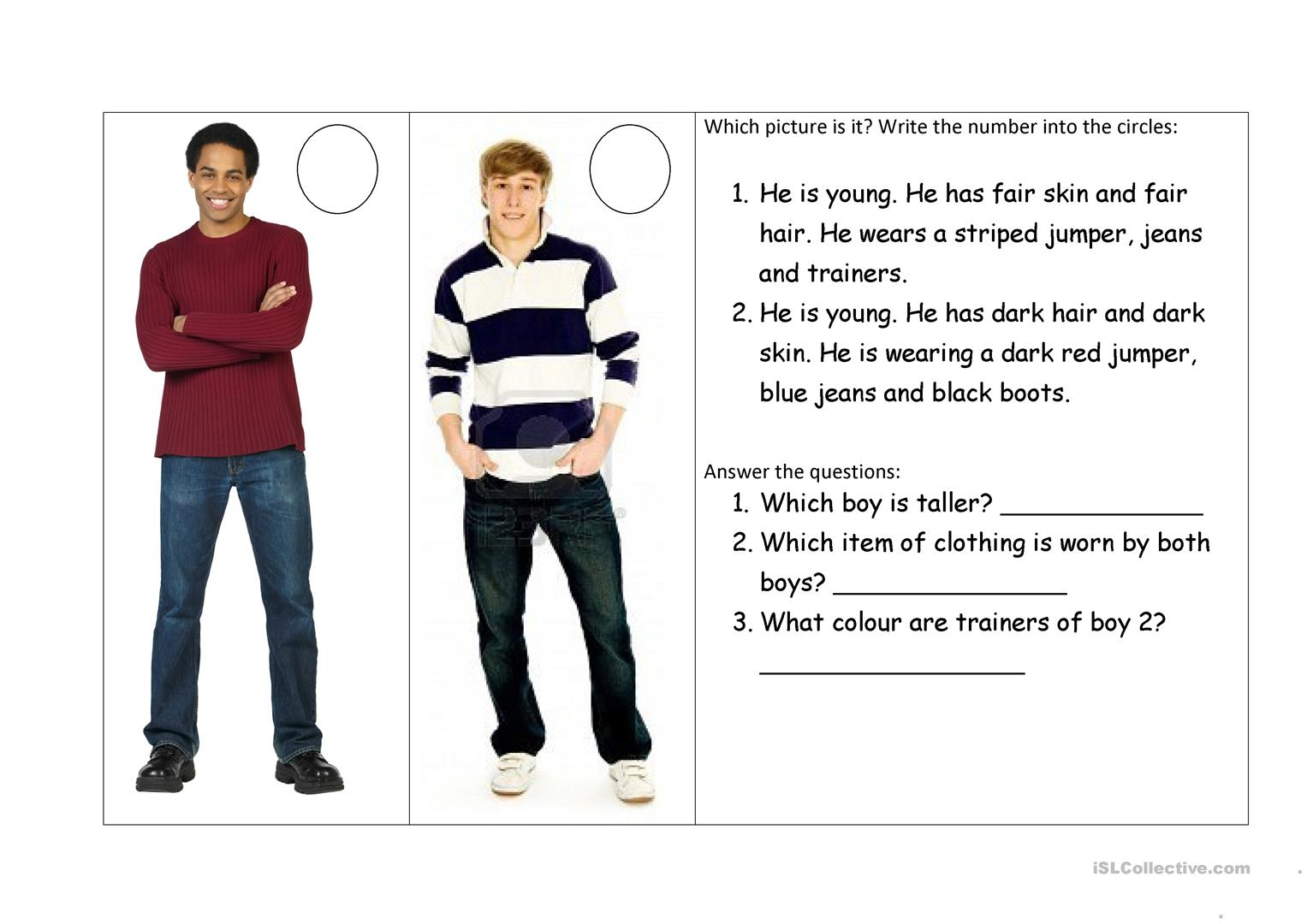 What Do They Look Like Worksheet