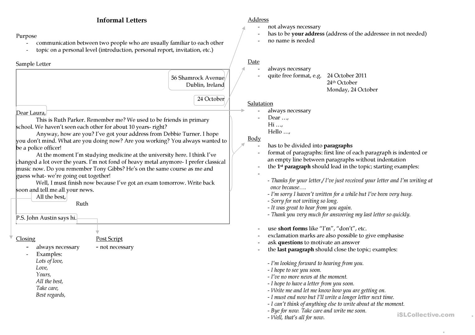 Writing An Informal Letter Worksheet