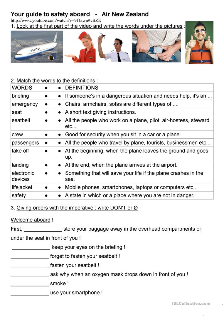 hight resolution of a funny video about flight safety rules - English ESL Worksheets for  distance learning and physical classrooms