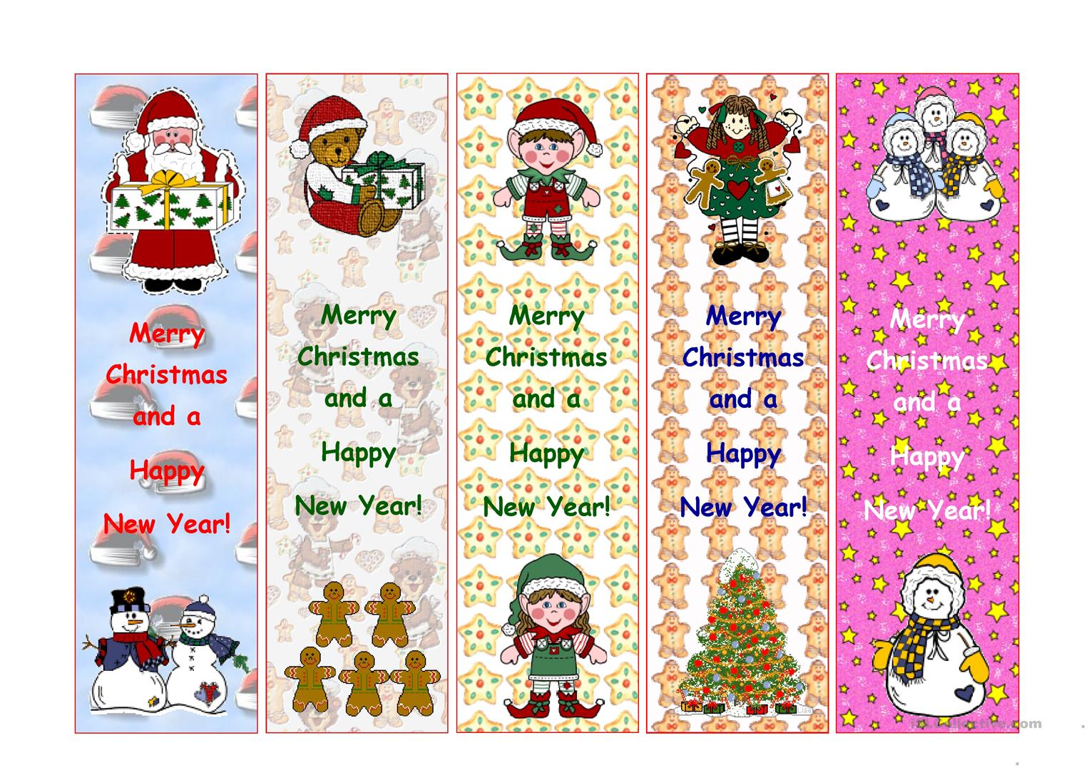 Bookmarks For Christmas Worksheet