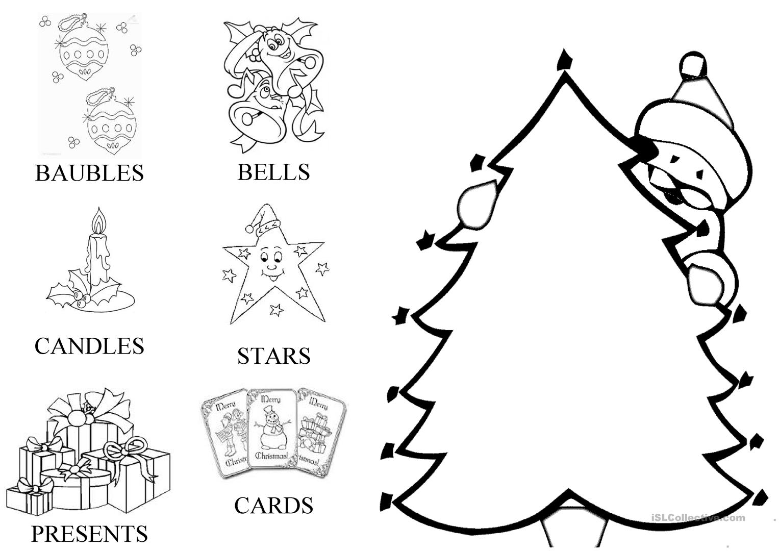 Christmas Card Decorate The Tree Worksheet