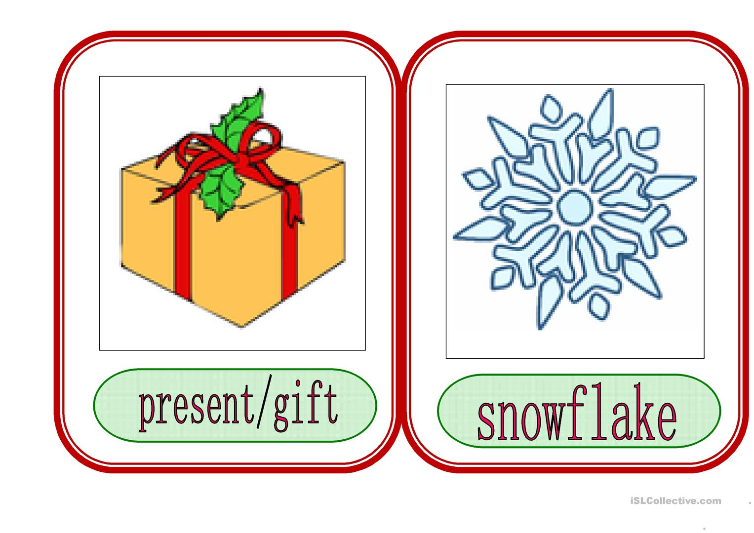 Christmas Flashcards 2 Worksheet