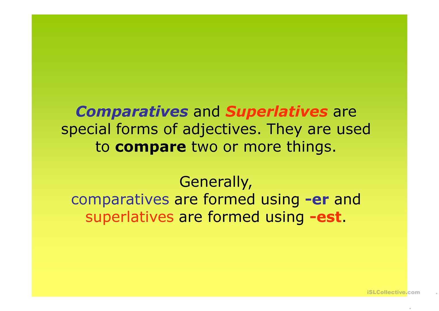 Comparatives And Superlatives Worksheet