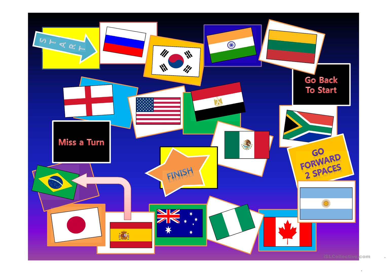 Countries Flags Game Board Worksheet