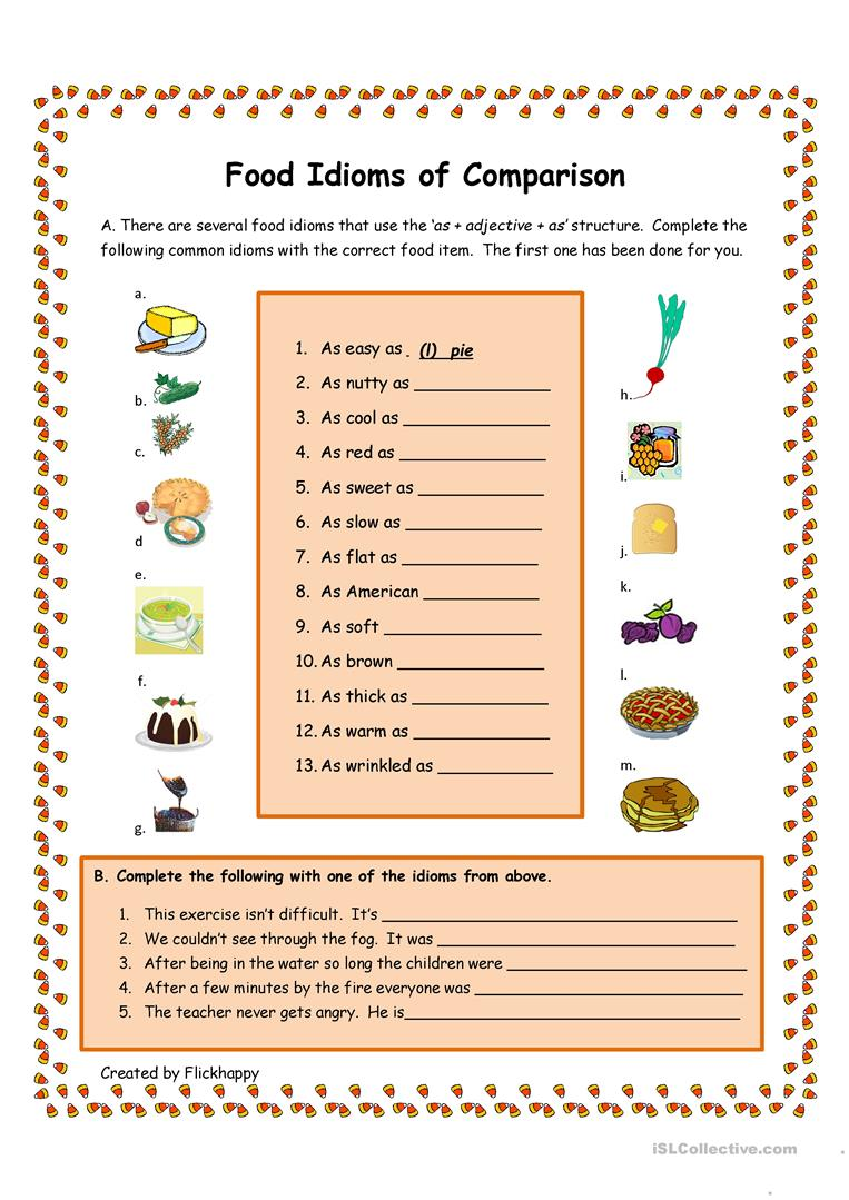 medium resolution of Food Idioms of Comparison - English ESL Worksheets for distance learning  and physical classrooms