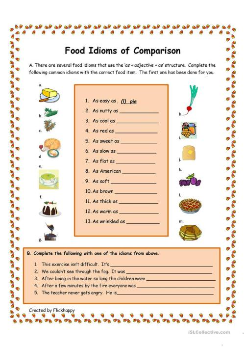 small resolution of Food Idioms of Comparison - English ESL Worksheets for distance learning  and physical classrooms