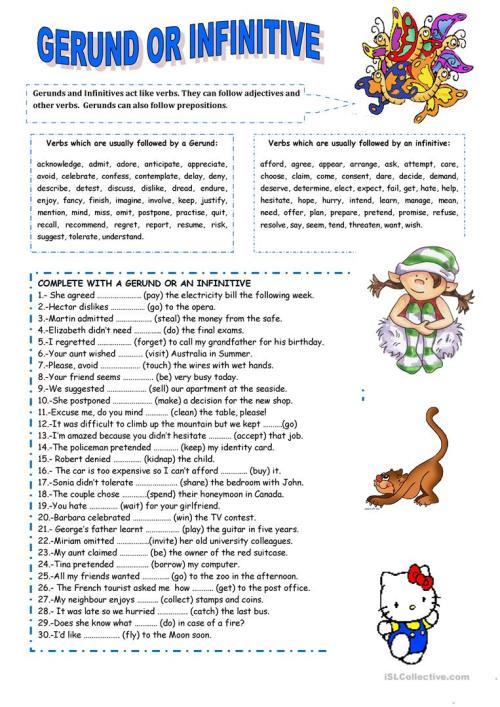 small resolution of English ESL Gerunds and Infinitives worksheets - Most downloaded (319  Results)