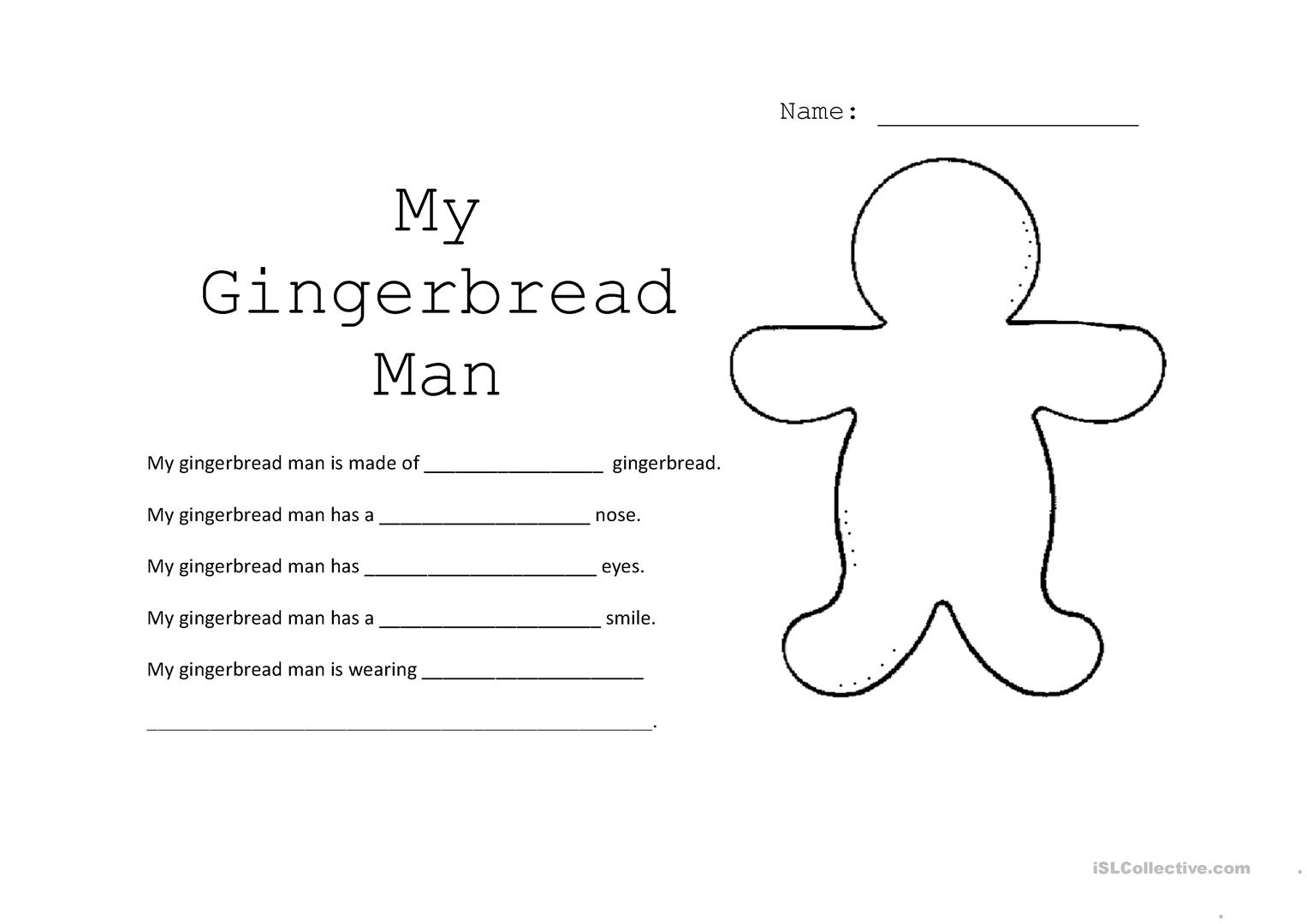 Gingerbread Man Adjectives Worksheet