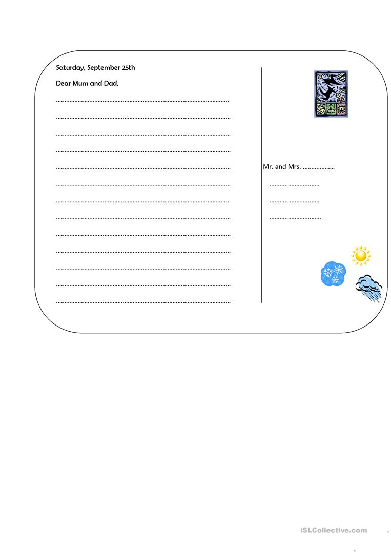 Postcard Template Worksheet