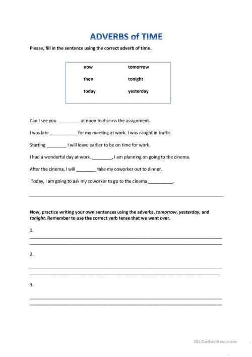 small resolution of Adverbs of Time - English ESL Worksheets for distance learning and physical  classrooms