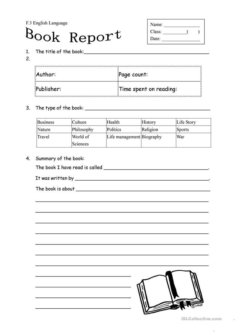 hight resolution of English ESL book report worksheets - Most downloaded (29 Results)