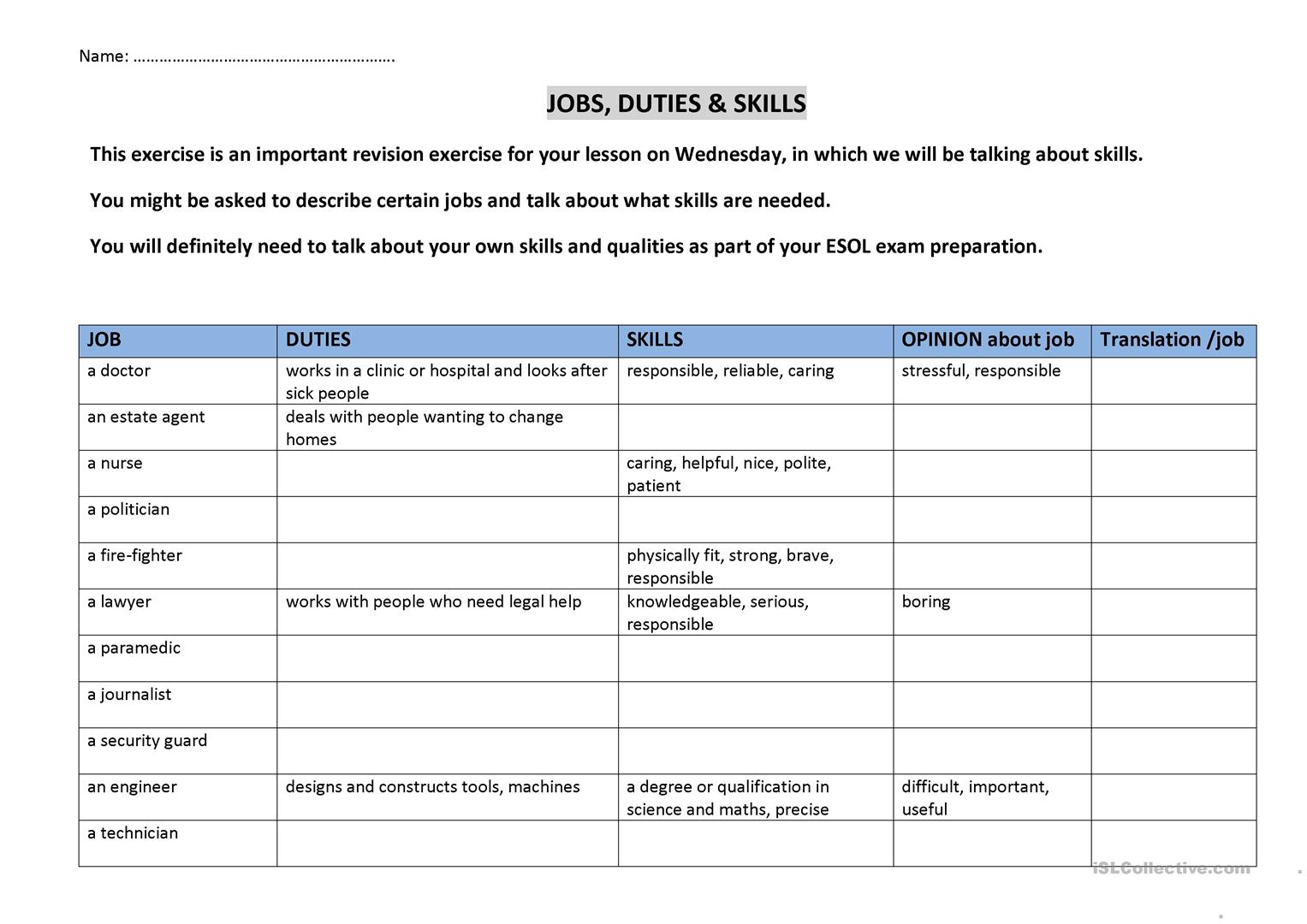 Jobs Duties And Skills Worksheet