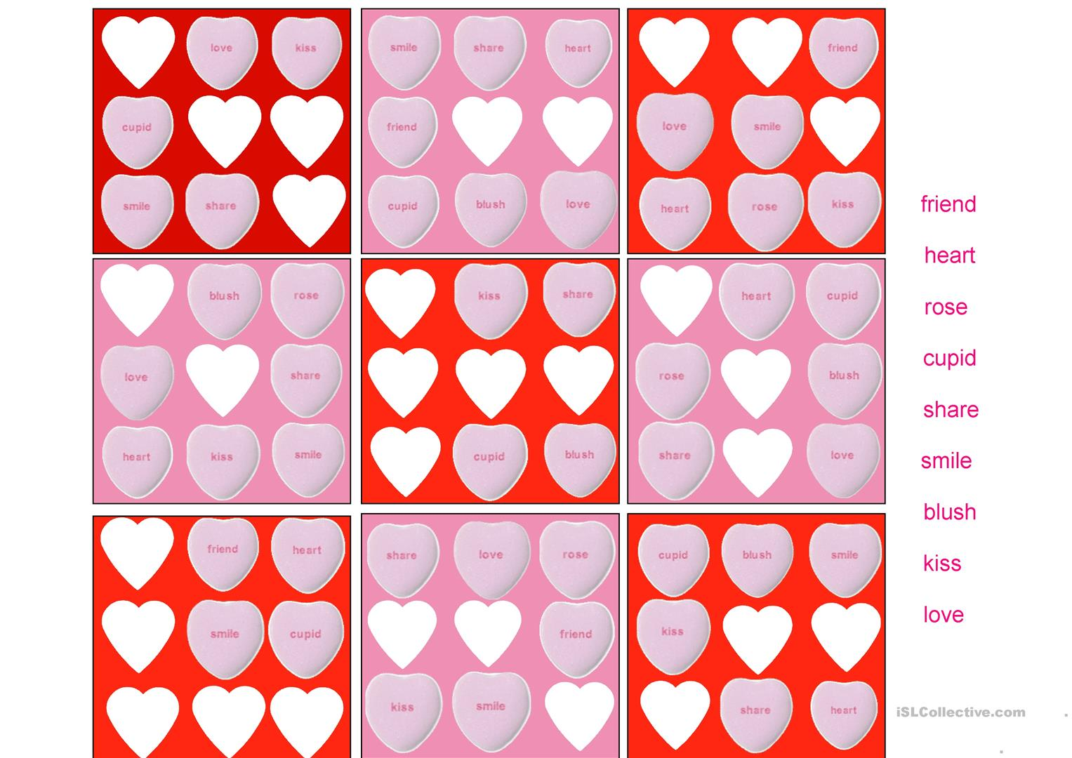 A Simple Word Sudoku Puzzle For Valentine S Day Worksheet