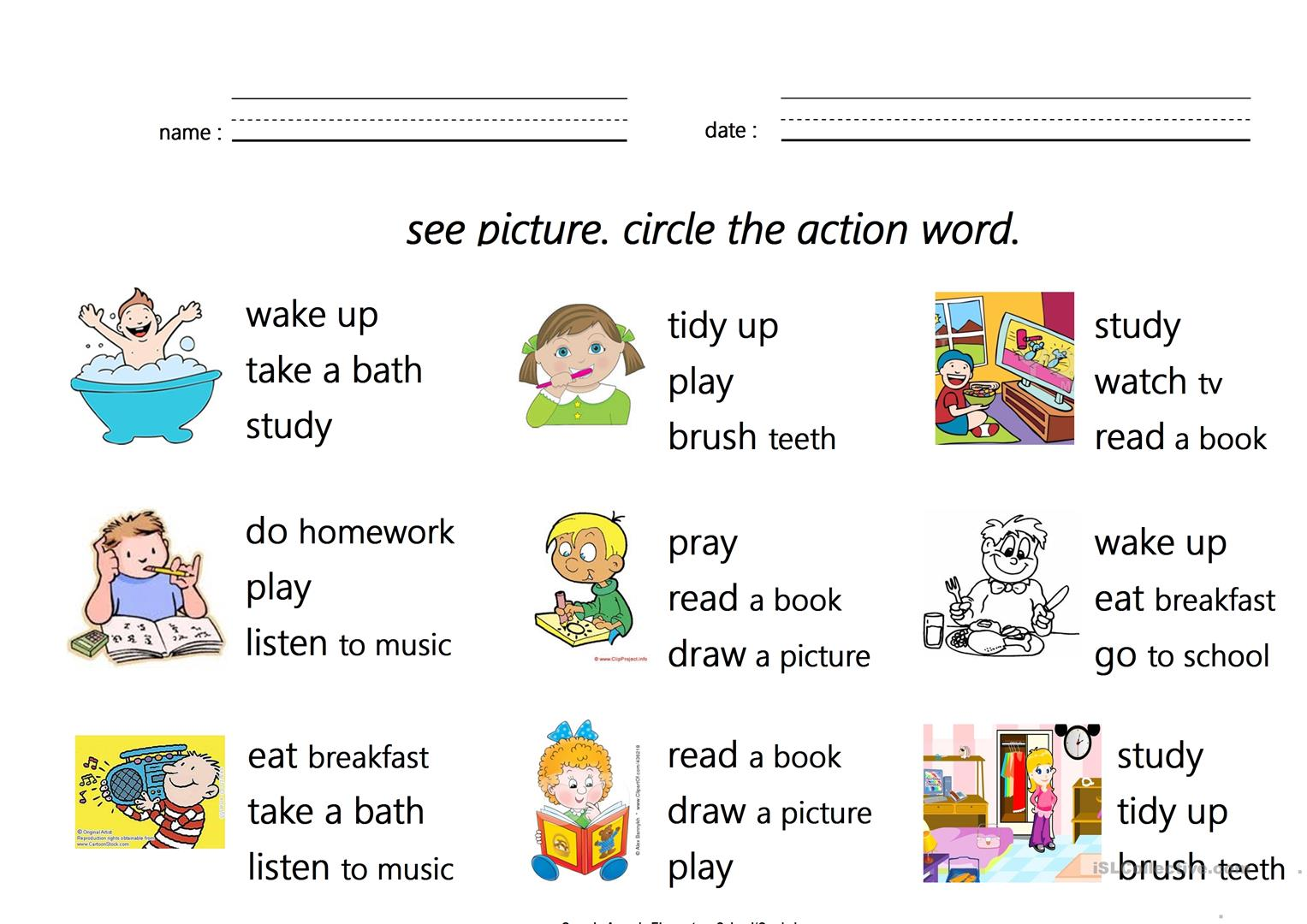 Action Words Worksheet