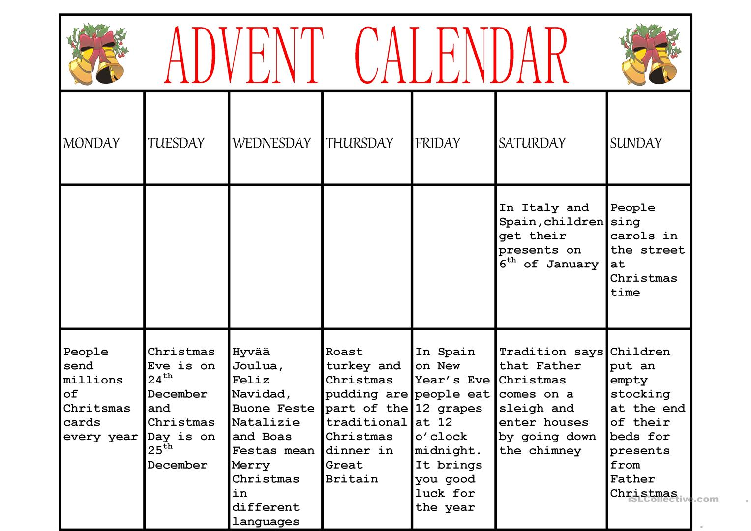 Advent Calendar Worksheet