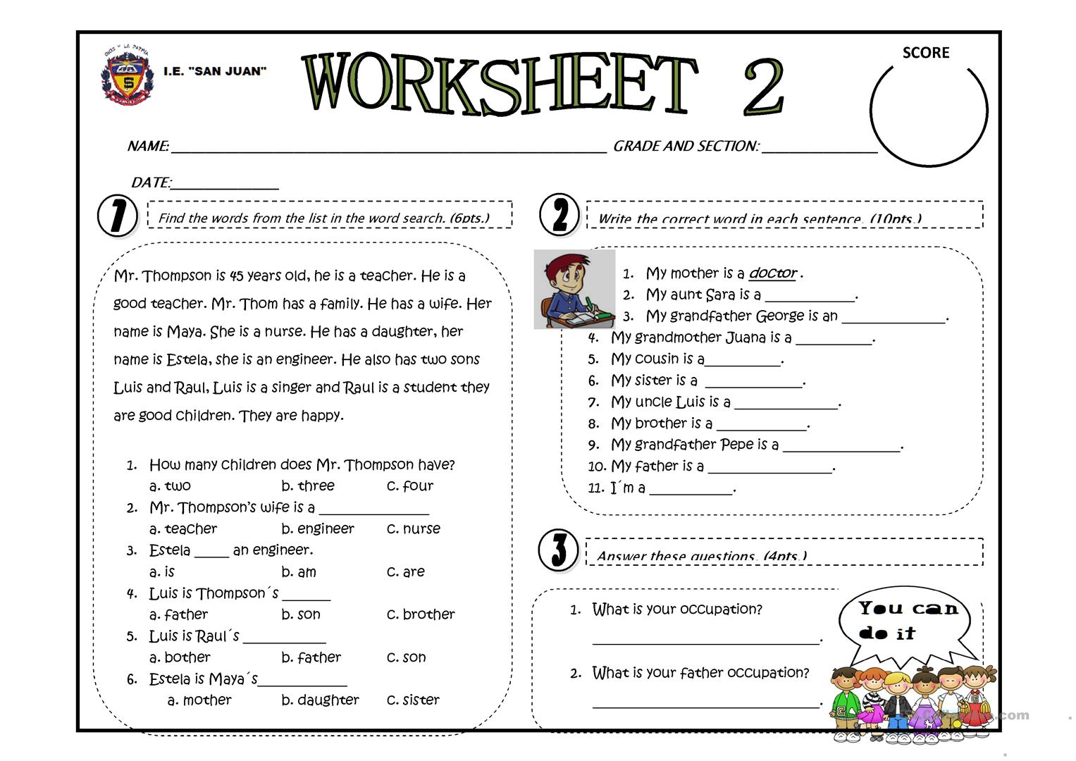 My Family Occupation Worksheet