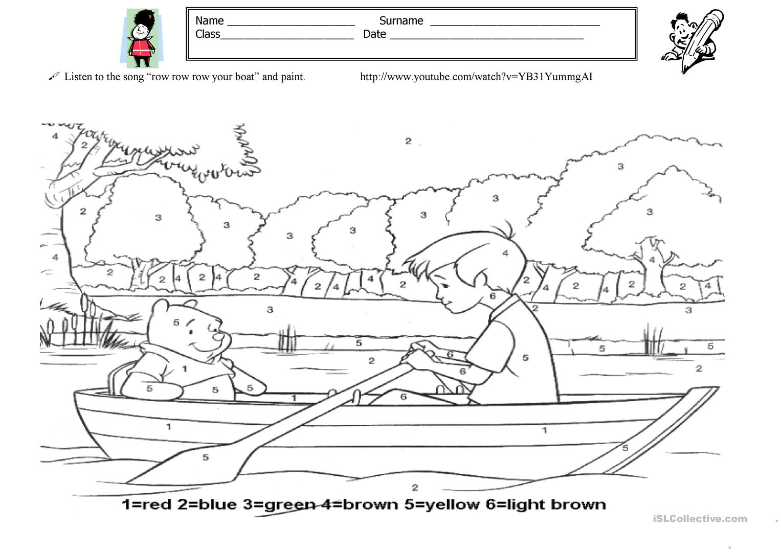 Piant Row Your Boat Worksheet