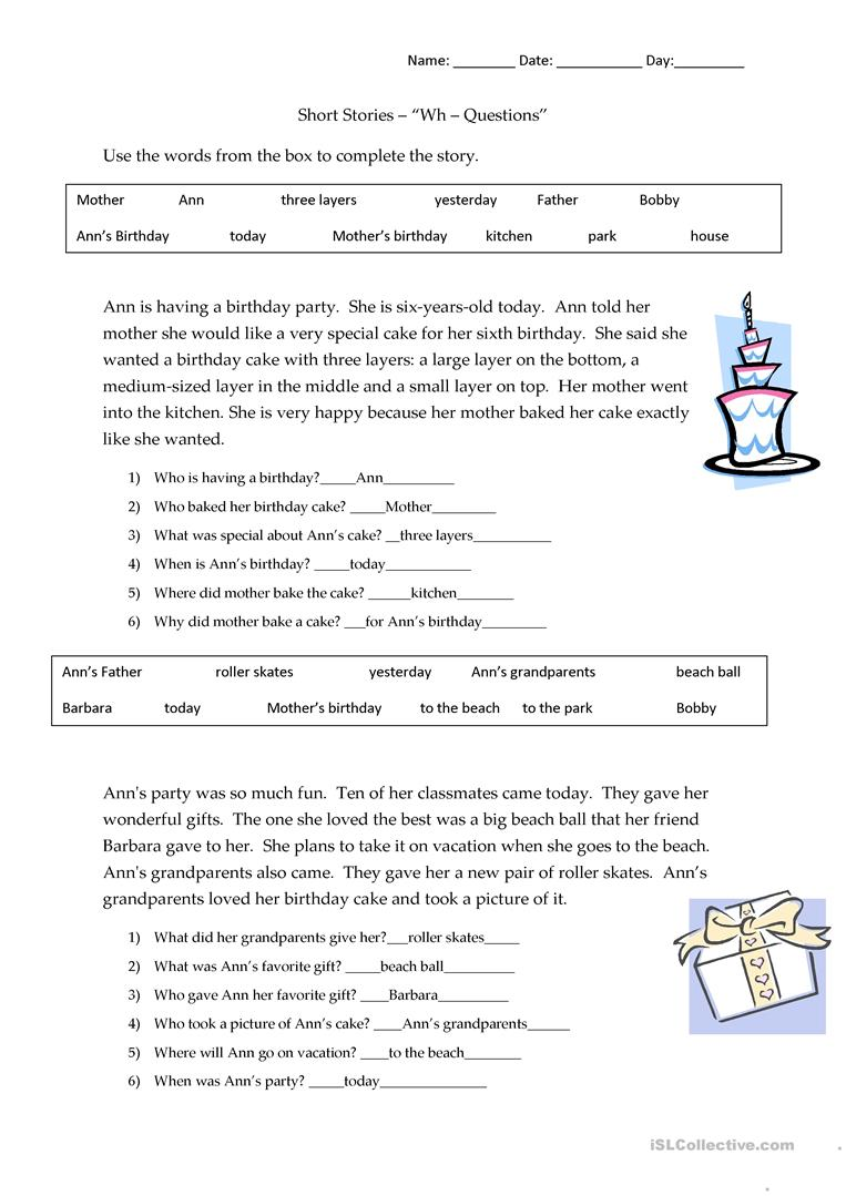 medium resolution of Short Stories Wh-questions - answers - English ESL Worksheets for distance  learning and physical classrooms