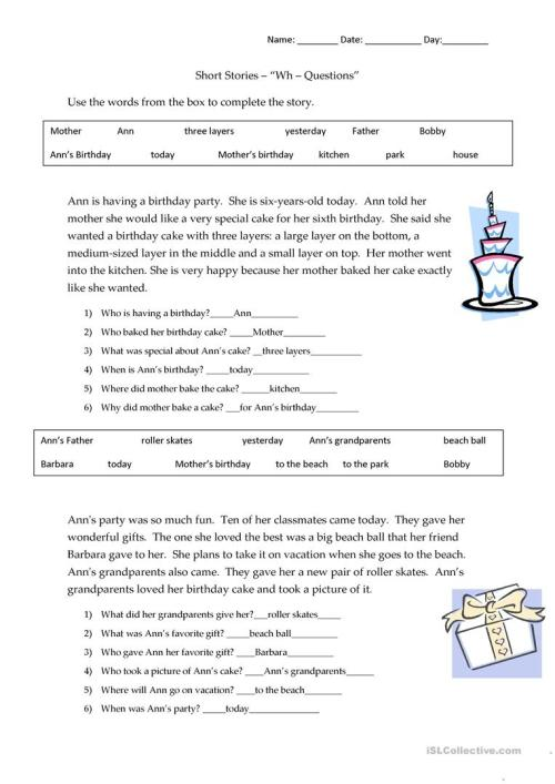 small resolution of Short Stories Wh-questions - answers - English ESL Worksheets for distance  learning and physical classrooms