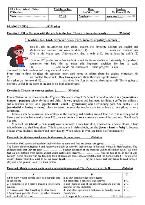 small resolution of test for 8th graders - English ESL Worksheets for distance learning and  physical classrooms