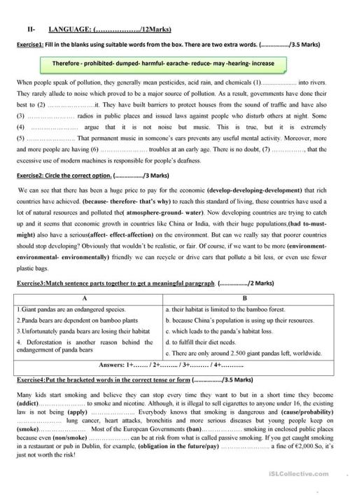 small resolution of TEST FOR 9TH GRADERS - English ESL Worksheets for distance learning and  physical classrooms